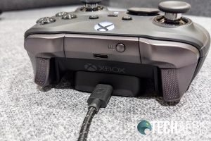 The Xbox Elite Wireless Controller Series 2 on the wireless charging block