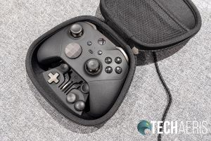 The Xbox Elite Wireless Controller Series 2 can be charged while inside the carrying case