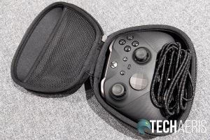 The Xbox Elite Wireless Controller Series 2 with cable in included carrying/charging case