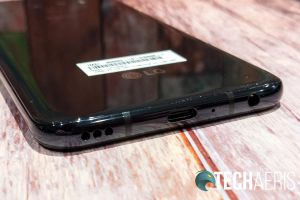 The bottom edge of the LG G8X ThinQ Android smartphone