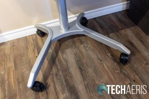 The leg base on the Seville Classics Airlift XL sit-stand desk cart