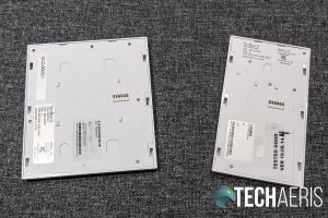 The back of the front face plates for the Brilliant Home Control 2- and 1-Switch Control