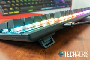 The adjustable feet on the back of the HyperX Alloy Origins mechanical gaming keyboard