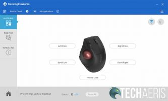 KensingtonWorks application Pro Fit Ergo Vertical Trackball button assignment screenshot