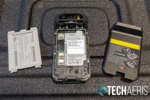 The removable battery on the Panasonic Toughbook N1 smartphone
