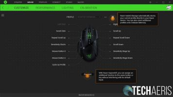 The Razer Synapse 3 Basilisk V2 customization screen