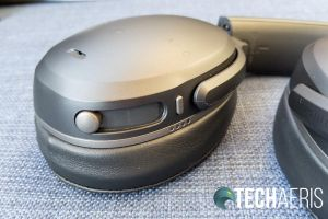 The controls on the left earcup on the Skullcandy Crusher ANC wireless headphones