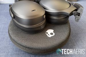 The Skullcandy Crusher ANC wireless headphones on the included carrying case