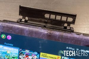 The console latch on the HyperX ChargePlay Clutch Charging Case for Nintendo Switch