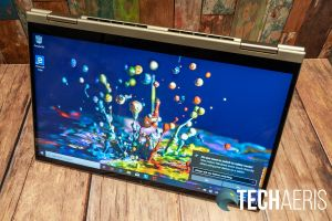 The 14-inch Lenovo YOGA C740 2-in-1 laptop in tent mode