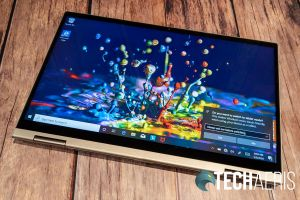 The 14-inch Lenovo YOGA C740 2-in-1 laptop in tablet mode
