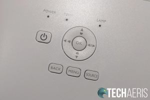 The menu button panel on the BenQ TK850 and HT3550 4K UHD projectors