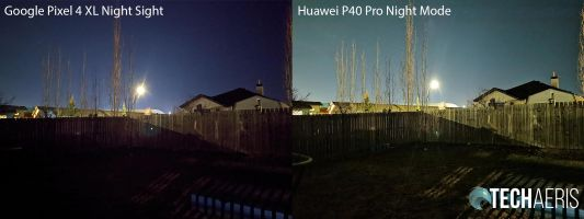 Huawei P40 Pro camera night mode vs Google Pixel 4 XL Night Sight sample shot