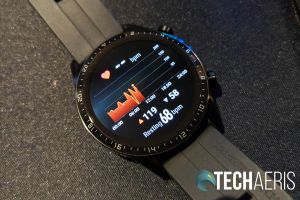 The heart rate monitor screen on the Huawei Watch GT 2