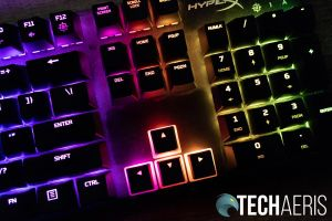 The HyperX Pudding Keycaps with black tops allow for more LED lighting to shine through