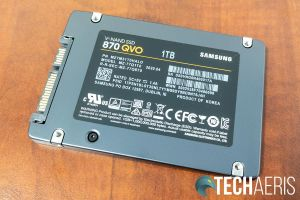 Bottom view of the Samsung 870 QVO SATA SSD