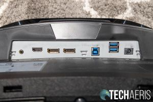 The input ports on the Samsung Odyssey G7 curved gaming monitor