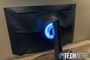 The back of the Samsung Odyssey G7 curved gaming monitor