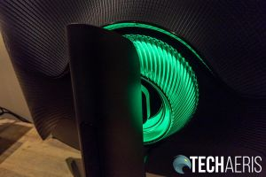 The glow ring on the back of the Samsung Odyssey G7 curved gaming monitor