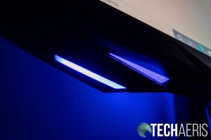 The lighting under the bottom of the Samsung Odyssey G7 curved gaming monitor