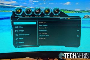 The OSD menu on the Samsung Odyssey G7 curved gaming monitor