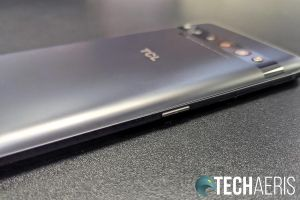 The Smart Key on the left edge of the TCL 10 Pro Android smartphone