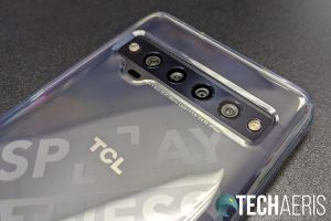 The quad camera strip on the TCL 10 Pro Android smartphone with the included case