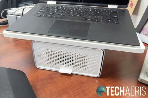 The Kensington FreshView Wellness Monitor Stand with included air purifier used as a laptop stand