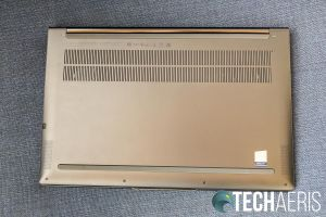 """The bottom of the Lenovo Yoga C940 14"""" laptop with bottom side speakers"""