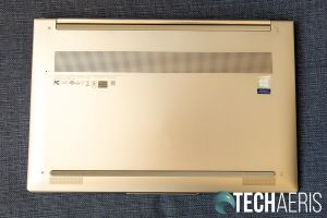 """The bottom of the Lenovo Yoga C940 15"""" laptop with bottom front speakers"""