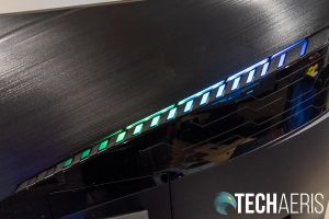 Detail of the RGB LED lights on the back of the MSI Optix MAG272CQR curved gaming monitor