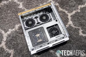 The left side of the the MSI P100 Prestige 8929 desktop computer with the panel removed