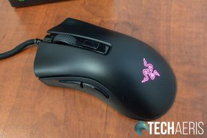 Top of the Razer DeathAdder V2 Mini gaming mouse with RGB LED lit